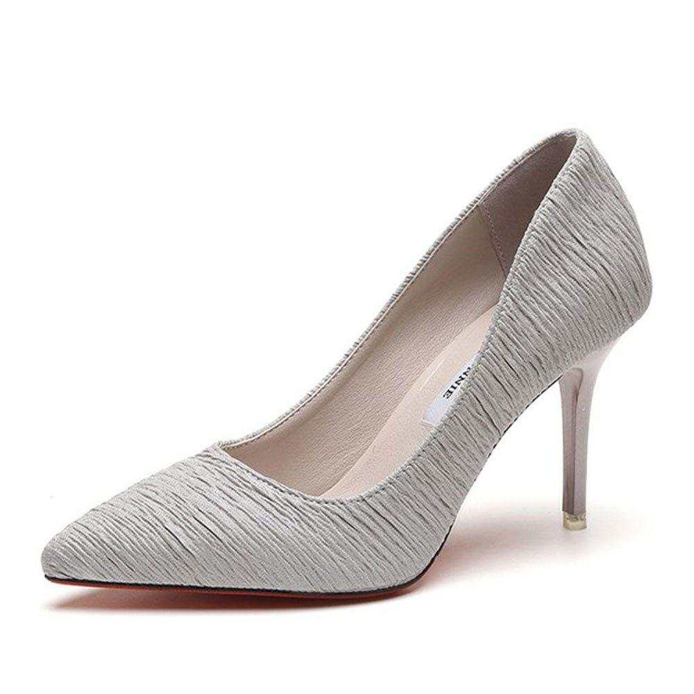 Printemps et Été New Talons Stiletto Pointus - gris 37