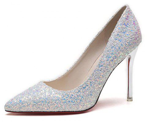 Spring and Summer New Pointed Classic Sequins High Heels - SILVER 38
