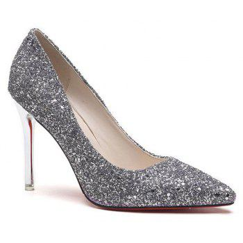 Spring and Summer New Pointed Classic Sequins High Heels - GRAY 35