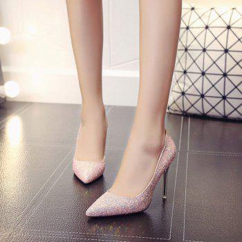 Spring and Summer New Pointed Classic Sequins High Heels - PINK ROSE 35