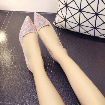 Spring and Summer New Pointed Classic Sequins High Heels - PINK ROSE 38