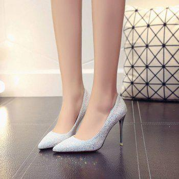 Spring and Summer New Pointed Classic Sequins High Heels - SILVER 35
