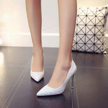 Spring and Summer New Pointed Classic Sequins High Heels - SILVER 37