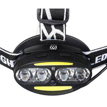 YWXLight Waterproof XML-T6 COB LED Headlamp Outdoors Headlight USB Charging Rechargeable Head Lamp Red Light - BLACK