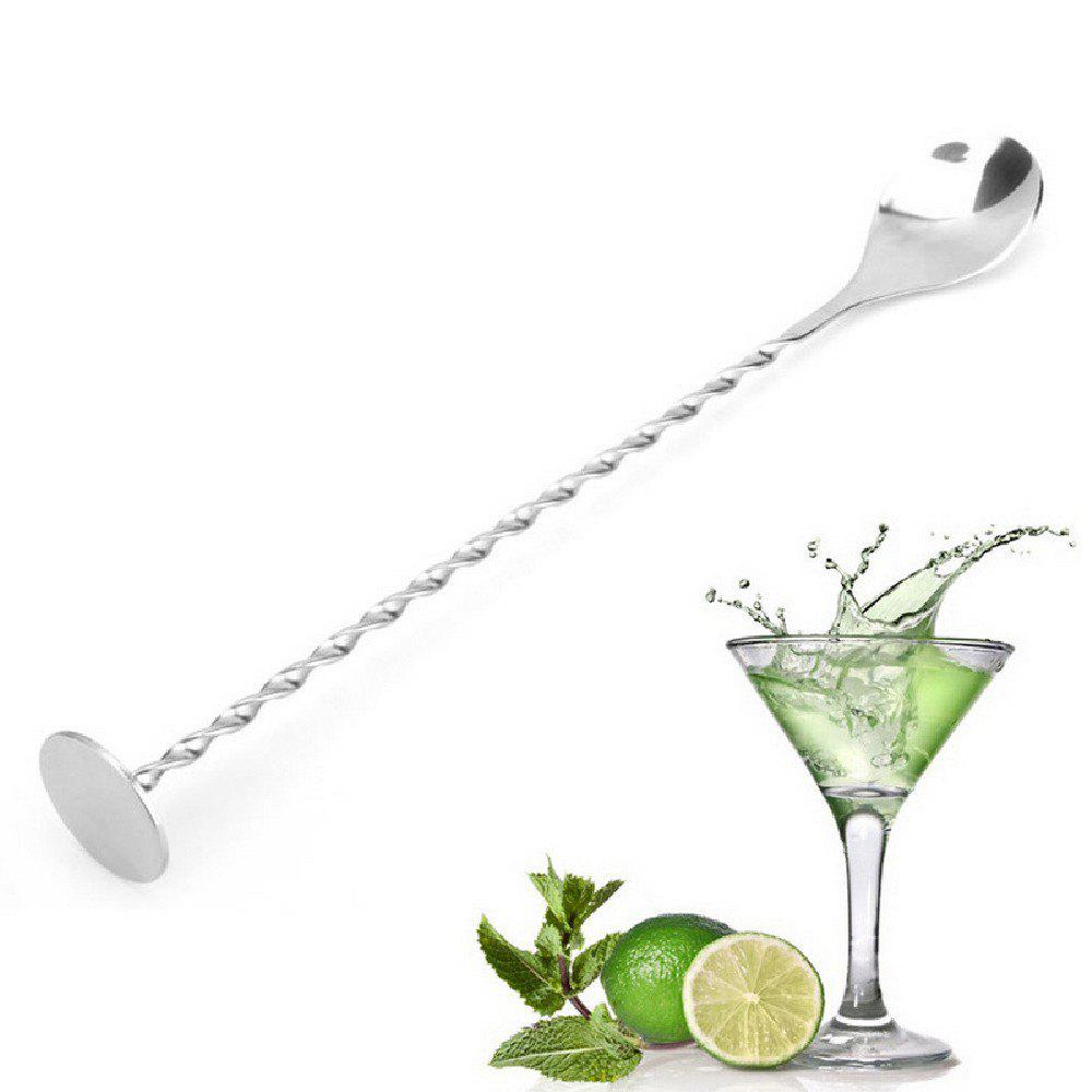 YEDUO Stainless Steel Threaded Bar Spoon Swizzle Stick Coffee Cocktail Mojito Wine Spoons Barware Bartender Tools - SILVER