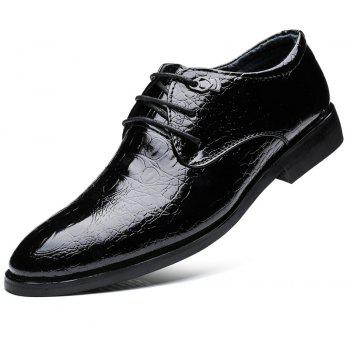 ZEACAVA Men's Casual Heighten Leather Business Shoes - BLACK 43