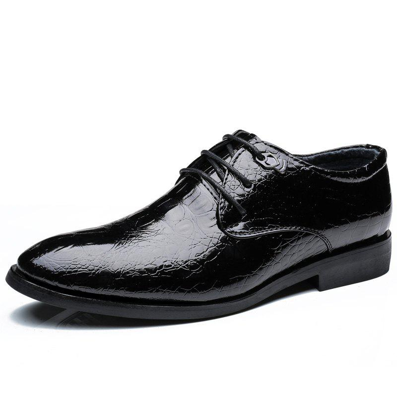 ZEACAVA Men's Casual Heighten Leather Business Shoes - BLACK 40
