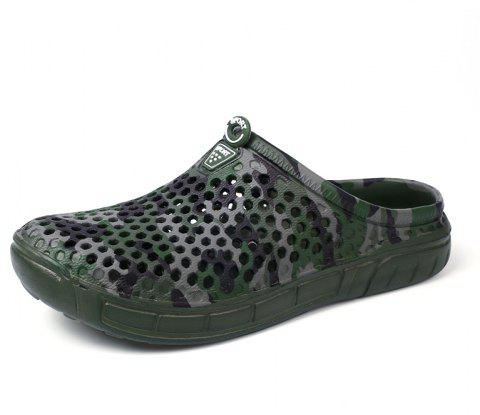 Breathable Comfortable Hollow Out Men's Slippers - SEAWEED GREEN 42