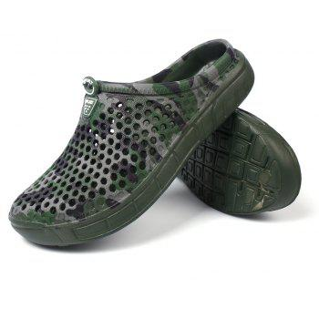 Breathable Comfortable Hollow Out Men's Slippers - SEAWEED GREEN 44