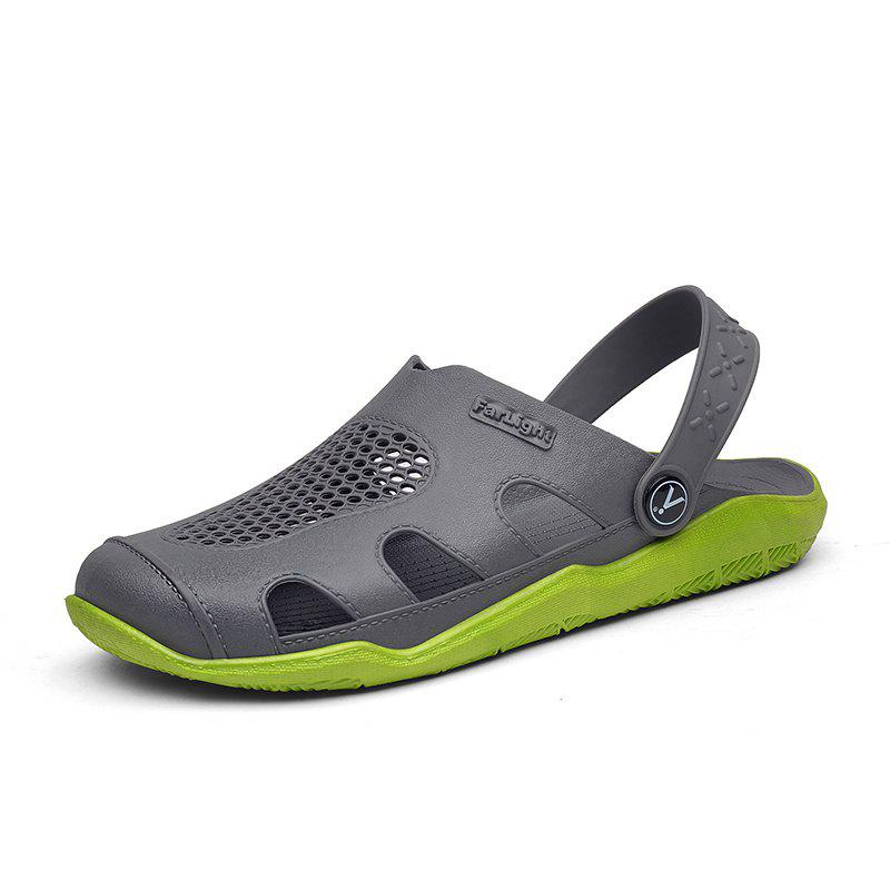 Breathable Comfortable Leather Sandals for Men - GREEN APPLE 44