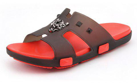 Breathable Comfortable Jelly Slippers for Men - FIRE ENGINE RED 43