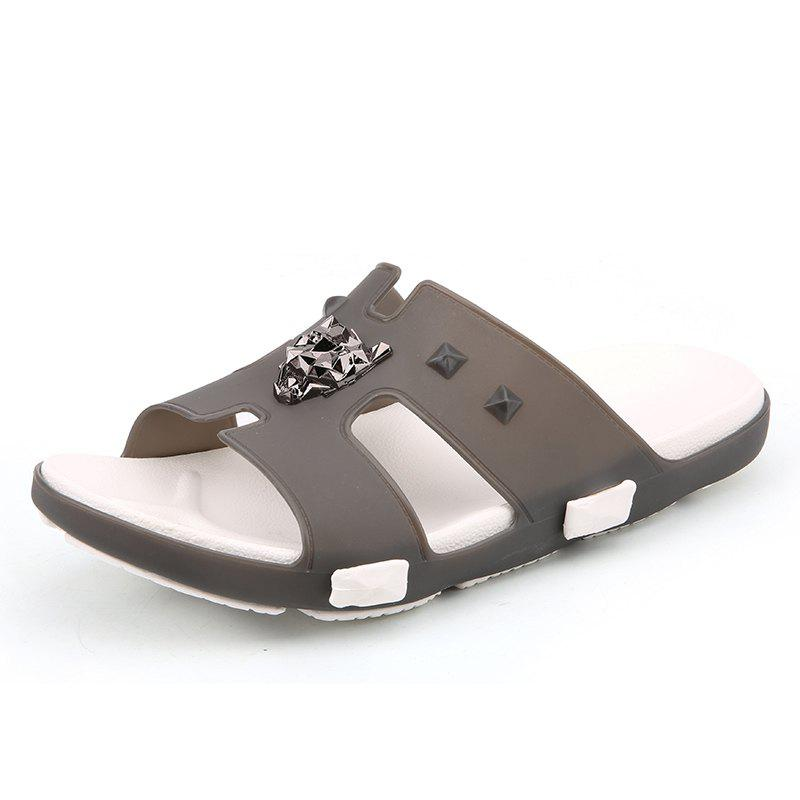 Breathable Comfortable Jelly Slippers for Men - BATTLESHIP GRAY 43