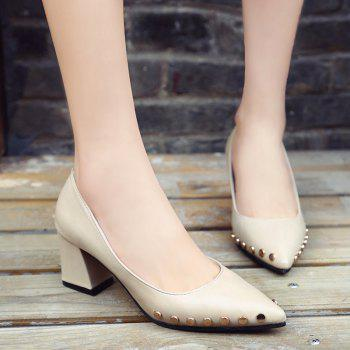 Shallow Mouth Nail All-match High Heels Shoes - WHITE 37