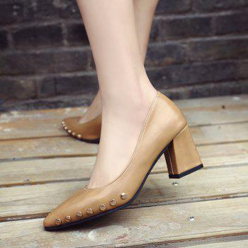 Shallow Mouth Nail All-match High Heels Shoes - BROWN 37