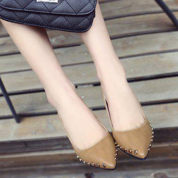 Shallow Mouth Nail All-match High Heels Shoes - BROWN 38