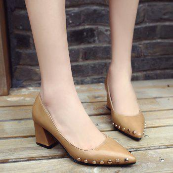 Shallow Mouth Nail All-match High Heels Shoes - BROWN 39