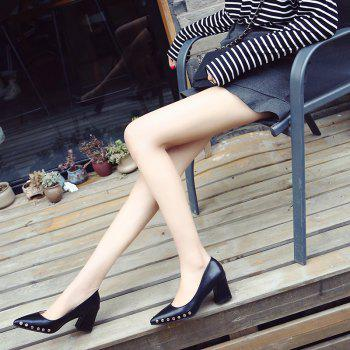 Shallow Mouth Nail All-match High Heels Shoes - BLACK 35