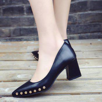 Shallow Mouth Nail All-match High Heels Shoes - BLACK 38
