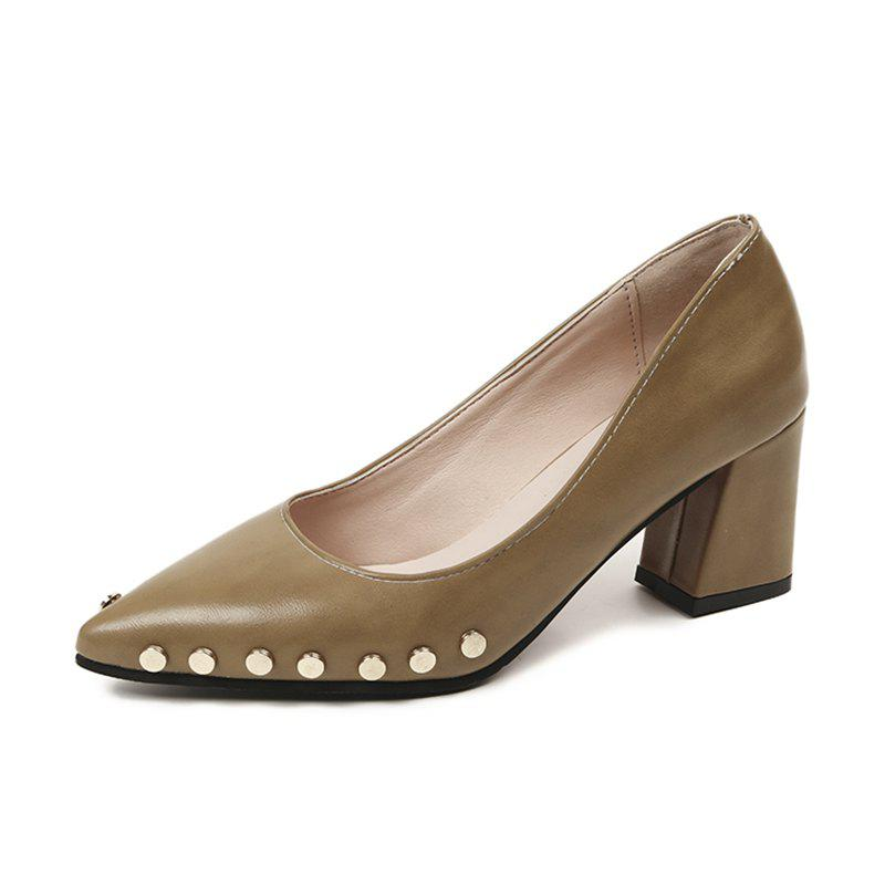 Shallow Mouth Nail All-match High Heels Shoes - BROWN 35