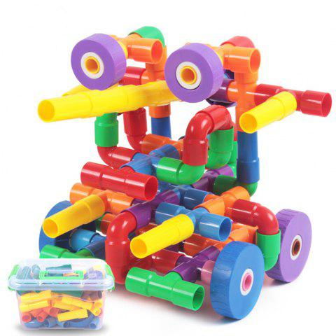 66 Capsules of Plastic Pipe Inserting Blocks Assembled Early Childhood Educational Toys - multicolor