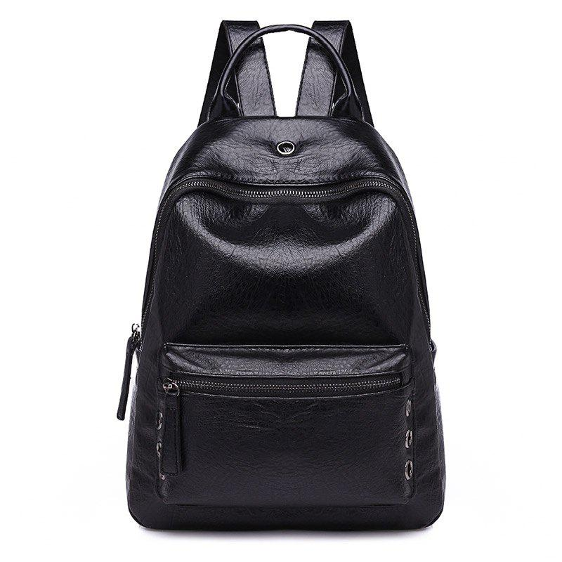 PU Leather Shoulder Bag Female Trend Fashion Wild 2018 New Double Backpack - BLACK