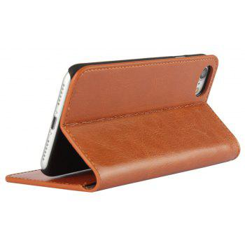 For iPhone 8 Case Full Grain Genuine Leather With Kickstand Function Credit Card Slots Magnetic Handmade Flip - BROWN