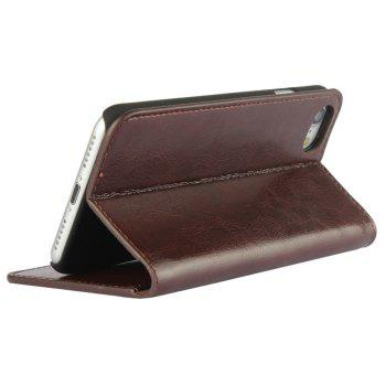 For iPhone 8 Case Full Grain Genuine Leather With Kickstand Function Credit Card Slots Magnetic Handmade Flip - PUCE