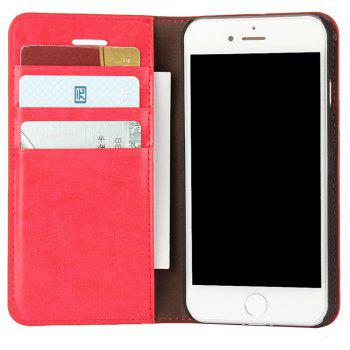 For iPhone 8 Case Full Grain Genuine Leather With Kickstand Function Credit Card Slots Magnetic Handmade Flip - RED