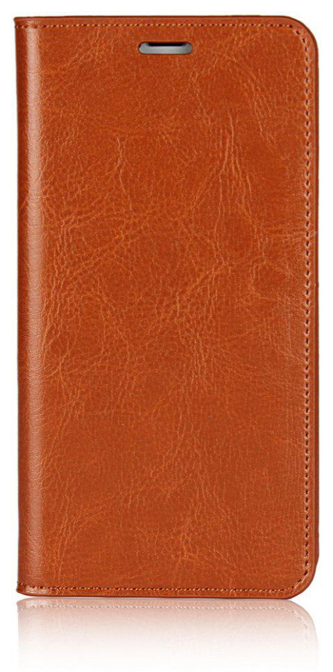 For iPhone7 Case Full Grain Genuine Leather With Kickstand Function Credit Card Slots Magnetic Handmade Flip - BROWN