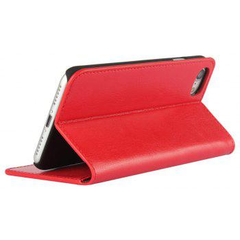 For iPhone7 Case Full Grain Genuine Leather With Kickstand Function Credit Card Slots Magnetic Handmade Flip - RED