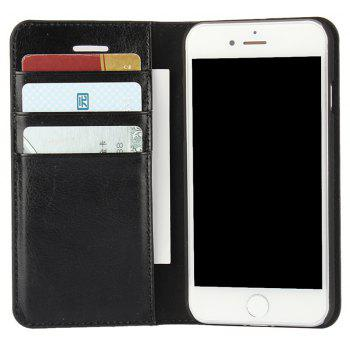 For iPhone7 Case Full Grain Genuine Leather With Kickstand Function Credit Card Slots Magnetic Handmade Flip - BLACK
