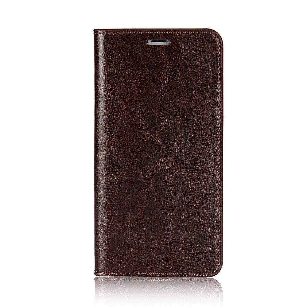For iPhone7 Case Full Grain Genuine Leather With Kickstand Function Credit Card Slots Magnetic Handmade Flip - PUCE