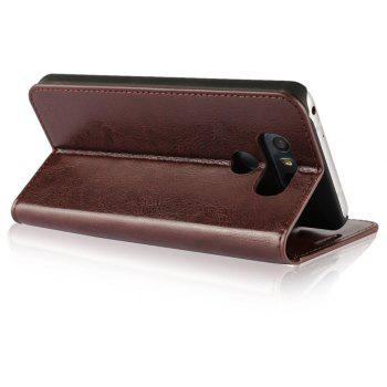 For LG G6 Case Full Grain Genuine Leather With Kickstand Function Credit Card Slots Magnetic Handmade Flip Cover - PUCE