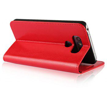 For LG G6 Case Full Grain Genuine Leather With Kickstand Function Credit Card Slots Magnetic Handmade Flip Cover - RED