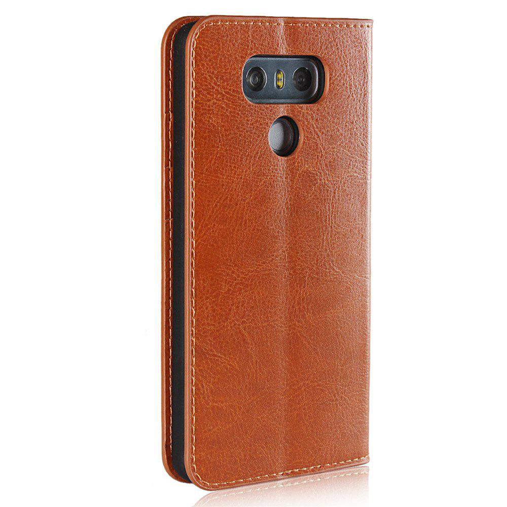 For LG G6 Case Full Grain Genuine Leather With Kickstand Function Credit Card Slots Magnetic Handmade Flip Cover - BROWN