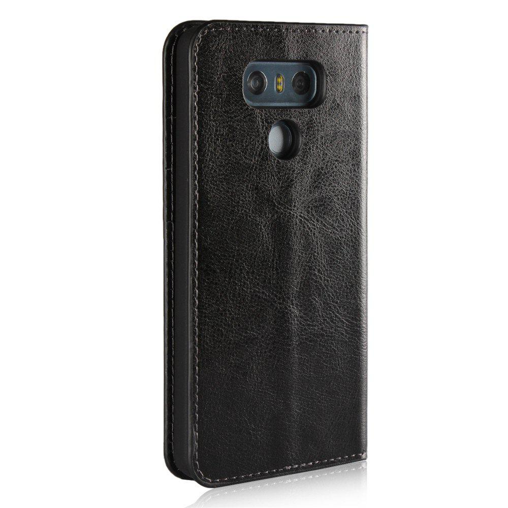 For LG G6 Case Full Grain Genuine Leather With Kickstand Function Credit Card Slots Magnetic Handmade Flip Cover - BLACK