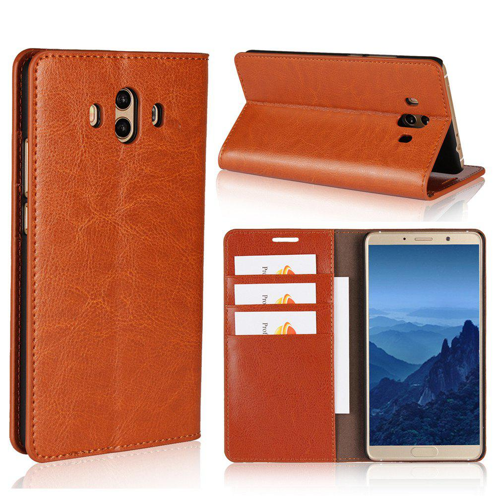 For Huawei Mate 10 Case Full Grain Genuine Leather Phone Case With Kickstand Function Credit Card Slots Magnetic Handm - BROWN