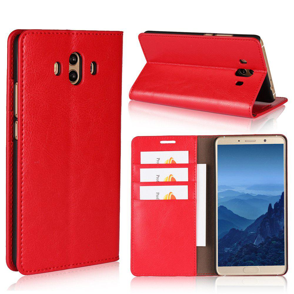 For Huawei Mate 10 Case Full Grain Genuine Leather Phone Case With Kickstand Function Credit Card Slots Magnetic Handm - RED