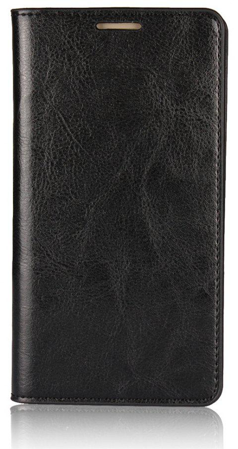 For Huawei P8Lite 2017 Case Full Grain Genuine Leather With Kickstand Function Credit Card Slots Magnetic Handmade Flip - BLACK