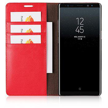 For Samsung Galaxy Note 8 Case Full Grain Genuine Leather With Kickstand Function Card Slots Magnetic Handmade Flip - RED