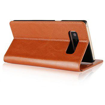 For Samsung Galaxy Note 8 Case Full Grain Genuine Leather With Kickstand Function Card Slots Magnetic Handmade Flip - BROWN