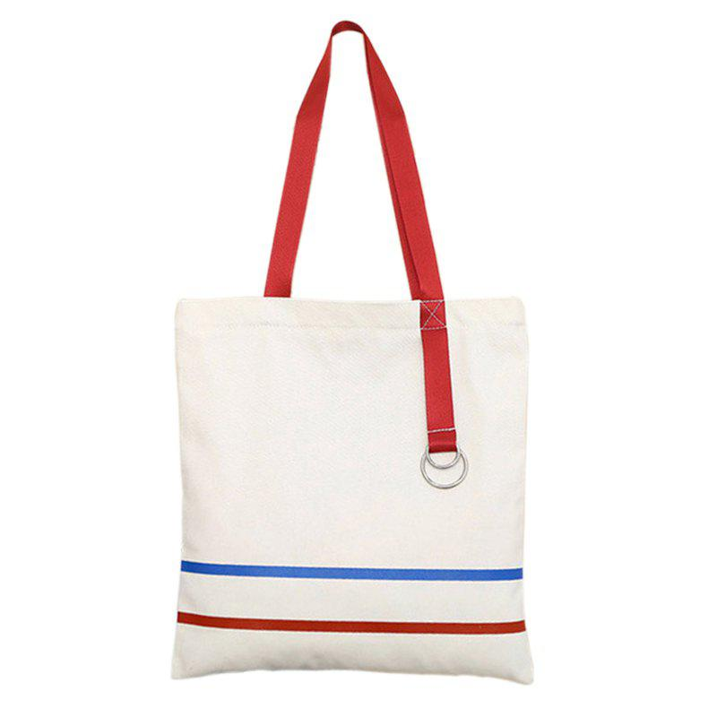 Women Casual Campus Canvas Handbag Shoulder Bag for Girls - WHITE VERTICAL