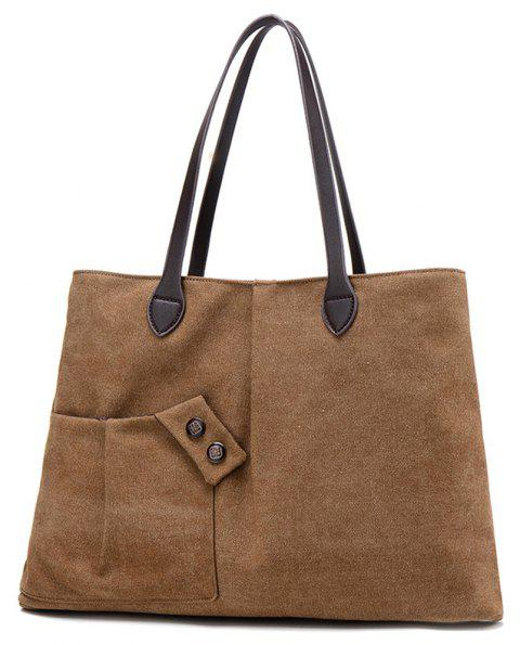 Women Casual Canvas Tote Handbag Large-capacity Shoulder Bag for Girls - BROWN