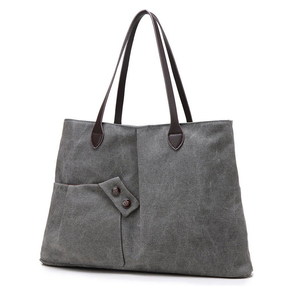 Women Casual Canvas Tote Handbag Large-capacity Shoulder Bag for Girls - CARBON GRAY