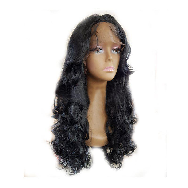 Fashion Black Long Curly Hair Chemical Fiber Front Lace Wig - BLACK 24INCH
