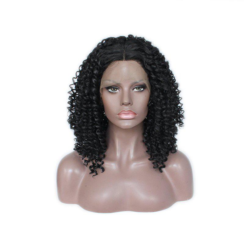 Small Black Roll Chemical Fiber Front Lace Wig - BLACK 20INCH