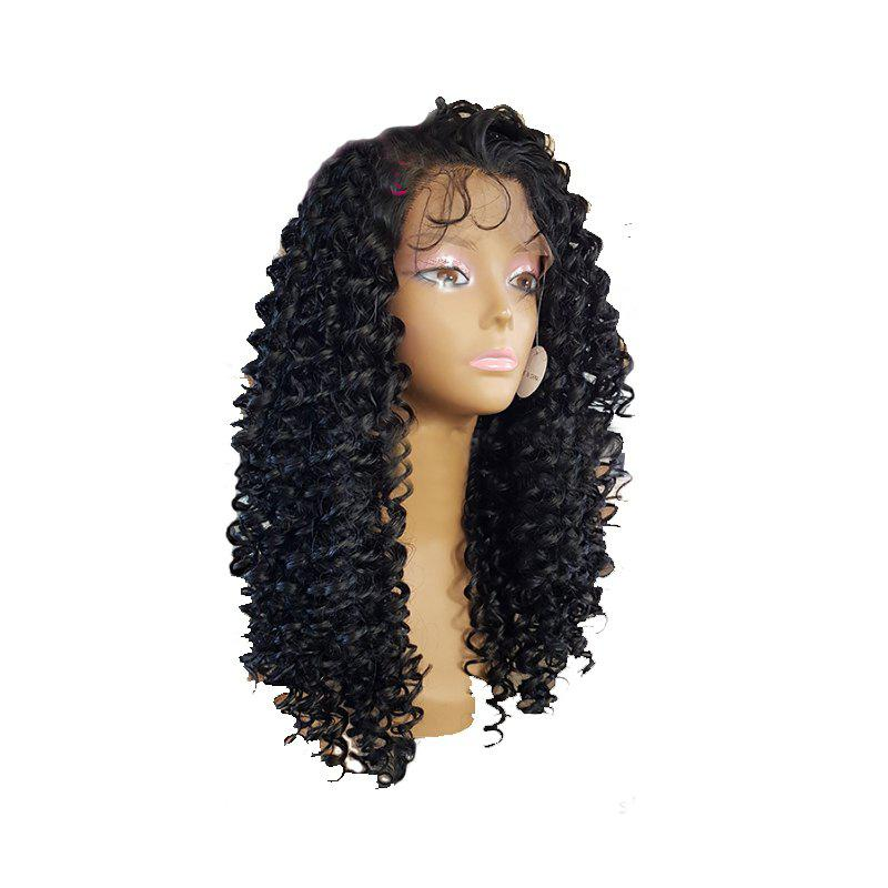 Black Small Curved Chemical Fiber Front Lace Wig - BLACK 24INCH