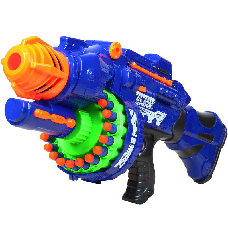 20 Repeating Machine Gun Plastic Airsoft Pistol Soft Bullet Boys Toy Outdoor CS Battle Game Gift Kids Toy - ROYAL BLUE