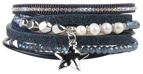 Fashion Multi Layer Cortical Pentagram Tassel Bracelet - BLUE