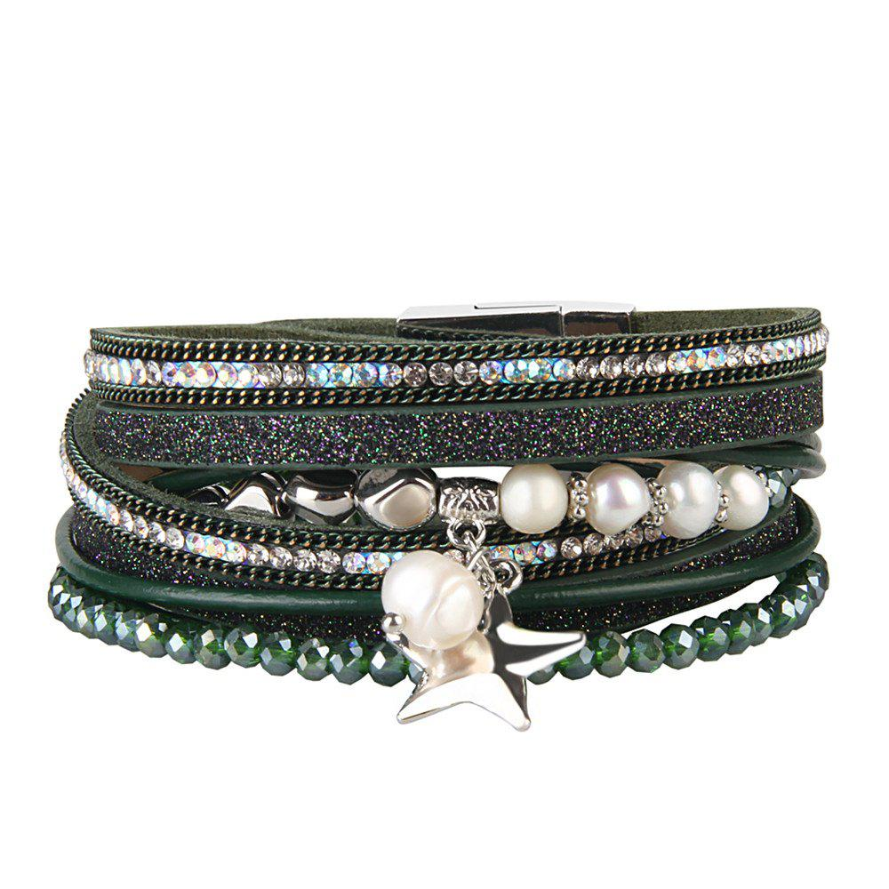 Fashion Multi Layer Cortical Pentagram Tassel Bracelet - GREEN